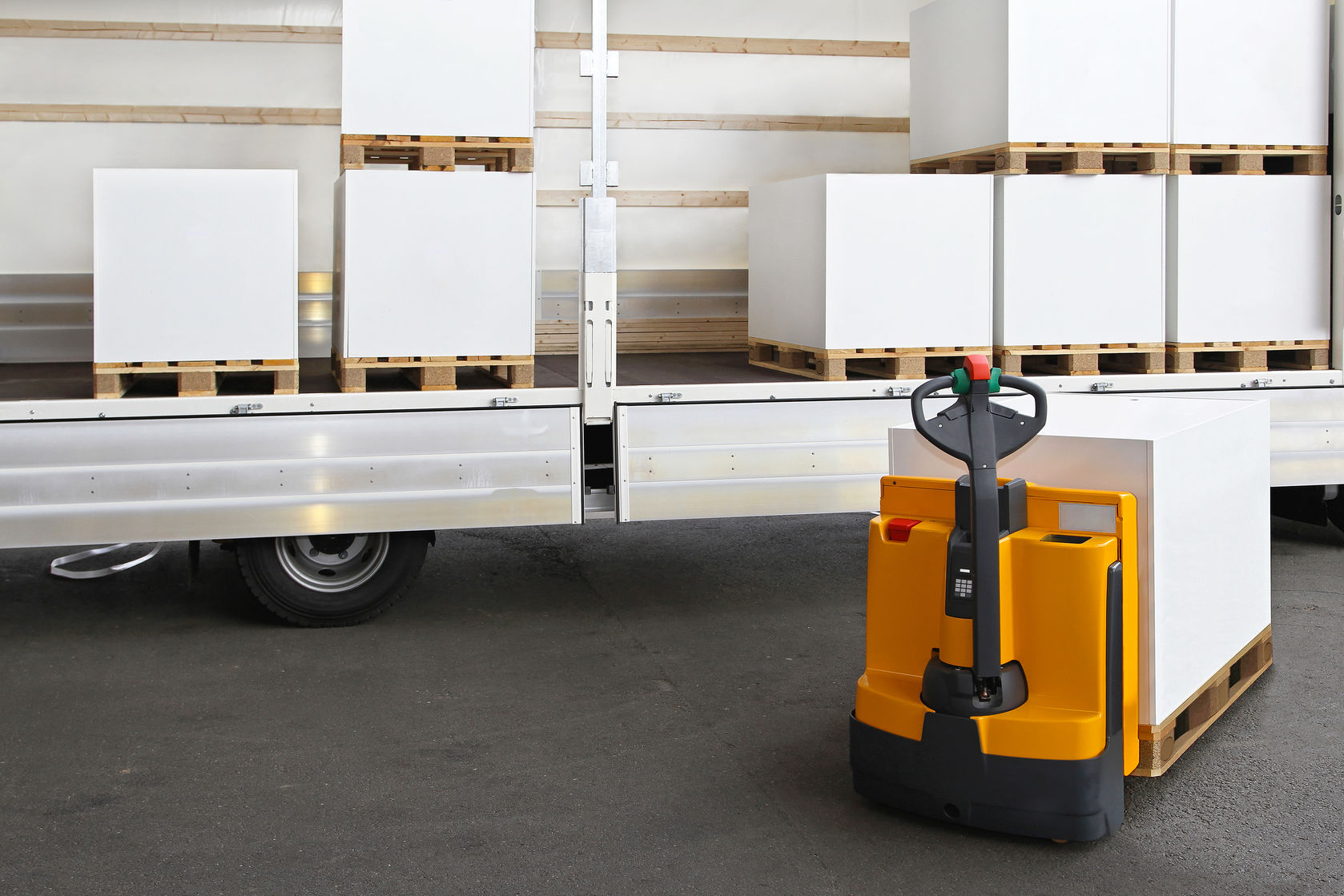31664019 - Forklift Loading Pallets With Paper In Truck